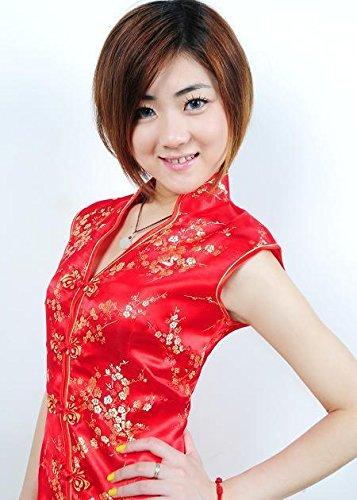 Bigood Cheongsam Femme Soie Imité Robe Chinoise Col V Sans Manche Floral Rouge
