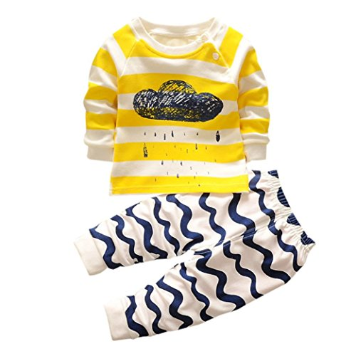 TPulling Mode Herbst Frühling Sommer Mädchen Baby Kinder-Langarm-Cartoon Cloud Zweiteilige Anzug Casual Kleinkind Top Pullover Mantel Dicke T-Shirt Outfits Kleider (Gelb, 73)