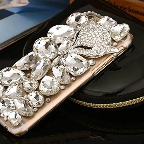 MOMDAD IPhone 5S/5/SE Coque IPhone 5S/5/SE TPU Silicone Case IPhone 5S/5/SE Souple TPU Cover avec Paon Bling Crystal Etui Housse de Protection [Pare-Chocs] Shell Skin pour IPhone 5S/5/SE Soft Portable PC-Diamant-6