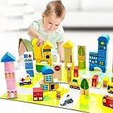 Goodid juego de bloque, construcción infantil 62 piezas con alfombra de puzzle para niños