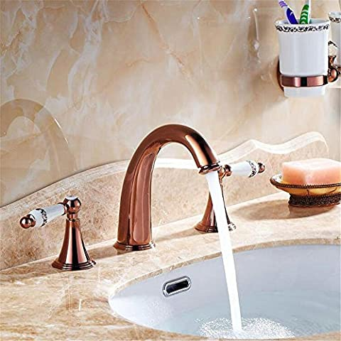 3 Colors 3 holes Antique Brass Deck Mounted Bathroom Mixer