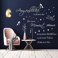 Wandschnörkel ®HM~AA176 Wandtattoo Augenblicke in denen die Zeit einen Moment still stand.... personalisiert mit Namen, Datum Wandaufkleber Wohnzimmer Flur...Farb/GRößenauswahl