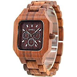 Bewell Exquisite Design Wood Watch by Japanese Movement Luminous Watch Hands Wooden Dial Adjustable Wristwatch