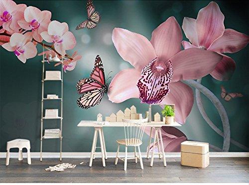 Wxlsl 3D Tapete Custom Jede Größe Warm Frische Moderne Rosa Schmetterling Orchidee Große Schlafzimmer Tv Hintergrund Wandbild Hintergrund-150cmx105cm