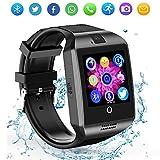 Bluetooth Smart Watch Q18 Touchscreen Smartwatch für Android IOS für Kinder Männer Frauen (Schwarz)