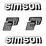 Set: Aufkleber - Klebefolie SIMSON S51 ENDURO - WEISS - für Tank und Seitendeckel + BISOMO® Sticker