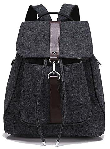 Greeniris Mädchen Segeltuch Rucksack Damen Reise Vintage Schulrucksack für Damen Schwarz