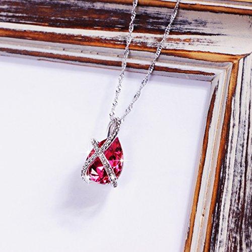 Mabox Collier Femme Cristal Pierre Principale - Elegante et attrayante, cette silhouette hautement en vogue demontre parfaitement le savoir-faire Blanc