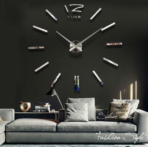 Silberne Riesen Designer Wanduhr Wohnzimmer Dekoration Wandtatoo XXL 3D aus Acryl