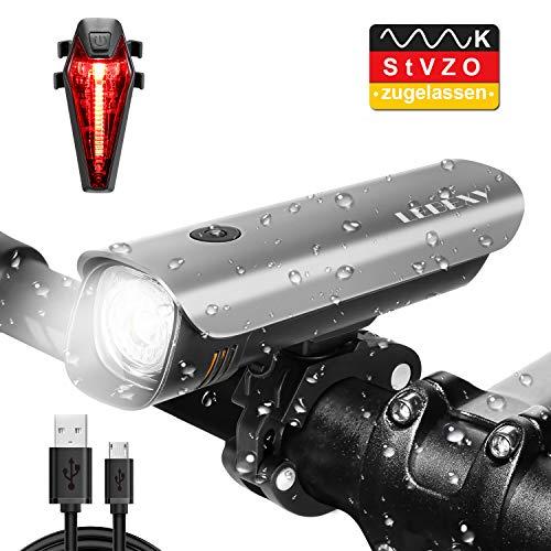 LEBEXY Fahrradlicht LED Fahrradbeleuchtung   Frontlicht & Rücklichter Set   StVZO Zugelassen Wasserdicht Fahrradlampe