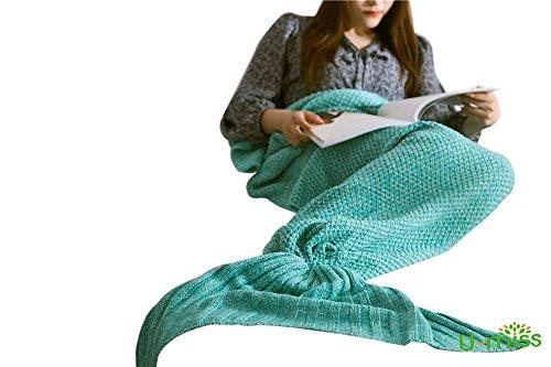 Meerjungfrau Decke, Handgemachte Häkeln Meerjungfrau Flosse Decke für Erwachsene, Mermaid Blanket alle Jahreszeiten Schlafsack (71''x35'',Grün)