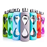 Glass Water Bottle, MIU COLOR® Anti-slip Silicone Sleeve with Eco-friendly Borosilicate Glass Bottle, BPA, PVC, Plastic and Lead Free