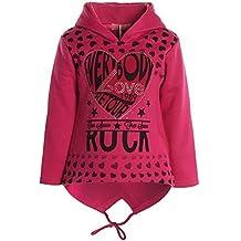 Bambina Pullover Con Cappuccio Felpa Maniche Lunghe Inverno 20623 - rosa, 6 Anni / 116