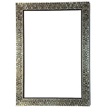 Seven Horses Frame Antique Colour Fiber Wood Wall Mirror,Dressing Mirror Solid Antique Black Colour Water Resistant Synthetic Fiber Wood Made (15x21Inch)