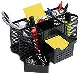 Amtido Mesh Tisch Organizer Set, Stiftehalter, Notizblockhalter, Utensilienhalter, Stifteköcher, Schreibtischbutler für Büro, Metall schwarz