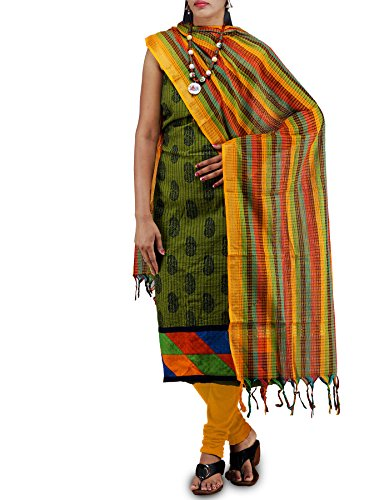Unnati Silks Women Unstitched Green-Yellow Pure Kutch Mangalagiri Cotton Fusion Salwar Kameez