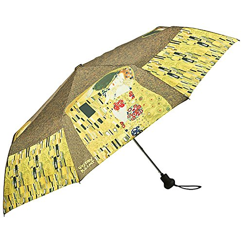VON LILIENFELD Regenschirm Taschenschirm Automatik Damen Kunst Motiv Gustav Klimt: Der Kuss (Regenschirm Gustav Klimt)