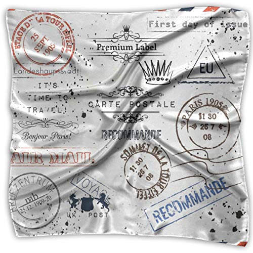 Mixed Designs Silk Square Scarves Bandana Scarf, Retro Post Stamps Postage Mail Paris Antique Artistic Design Vocation Traveling,Womens Neck Head Set -