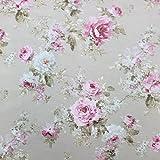 Taupe Rose Garden Baumwolle Rich Leinen Look Stoff für