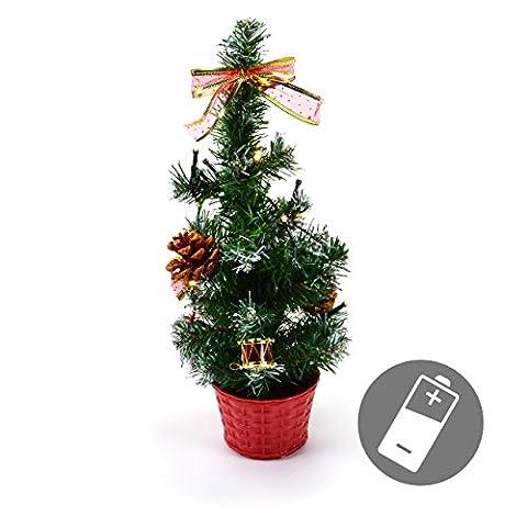 Weihnachtsbaum 10 LED 40 cm mit Beleuchtung Trommeln Zapfen Schleifen Xmas Batterie