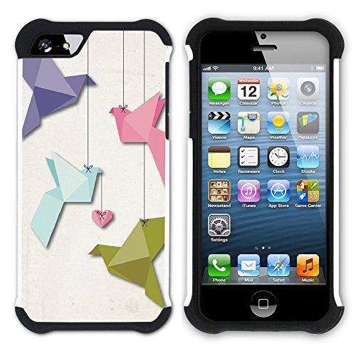 Graphic4You Origami Japanisch Kunst Hart + Weiche Kratzfeste Hülle Case Schale Tasche Schutzhülle für Apple iPhone SE / 5 / 5S Design #7