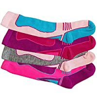 4 x Girls Kid Children Thermal Ski Knee High Warm Wool Blend Socks