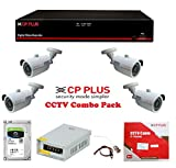 #9: DVR & Camera Combo Pack - CP Plus Astra Full HD 4Ch DVR + 4 CP Plus Bullet Camera 2.4 MegaPixel Nightvision + Seagate SKYHAWK Hard Drive + CP Plus Cable Box + Power Supply CP Plus + UPV BNC & DC Pin Set - Full CCTV Kit ( UPVsales™)