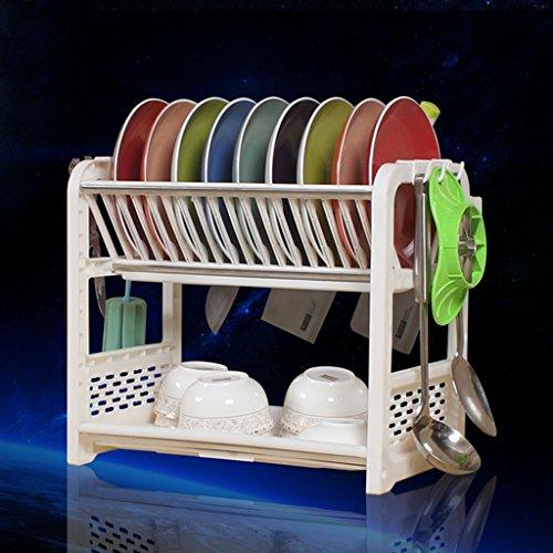 Étagère en grille pour vaisselle en plastique Robinet de drainage de cuisine Éponge en cuisinière à 2 niveaux 40 * 24.5 * 36CM (Couleur : D, taille : 40 * 24.5 * 36CM)