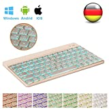 D DINGRICH Ultra Dünn Tastatur (QWERTZ), Wireless Bluetooth Tastatur mit 7 Farbe Hintergrundbeleuchtung, für Samsumg, Huawei, Mac, ipad pro, Phone, Smart TV, Allen IOS, Android, Windows Geräten
