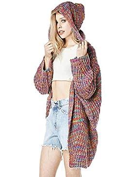Cárdigans Mujer con Capucha Invierno Largo Punto arco iris Suéter Jersey