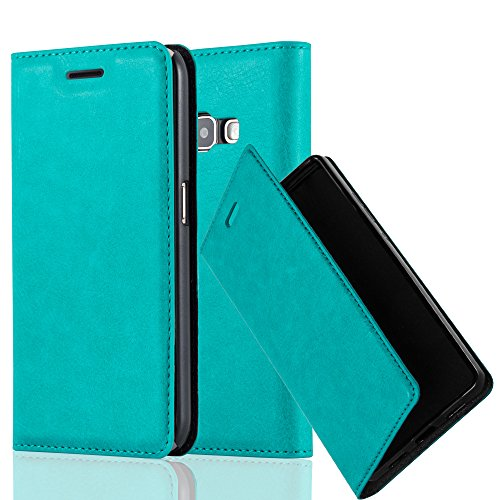 Cadorabo Hülle für Samsung Galaxy J1 2016 (6) - Hülle in Petrol TÜRKIS – Handyhülle mit Magnetverschluss, Standfunktion und Kartenfach - Case Cover Schutzhülle Etui Tasche Book Klapp Style