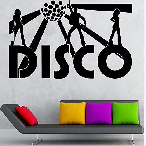 zqyjhkou Disco Wandaufkleber Musik Nachtclub Dekoration Party Nachtclub Dance Vinyl Wandtattoos Abnehmbare Disco Tapete Poster Ay887 89x57 cm -