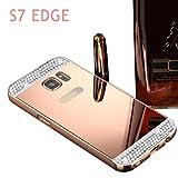 Funda Samsung Galaxy S7 Edge,Xinantime Marco de espejo del metal cubierta trasera del caso (Oro rosa)