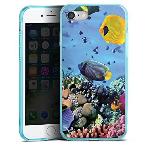 Apple iPhone 7 Silikon Hülle Case Schutzhülle Unterwasser Fische Schildkröte Silikon Colour Case eisblau