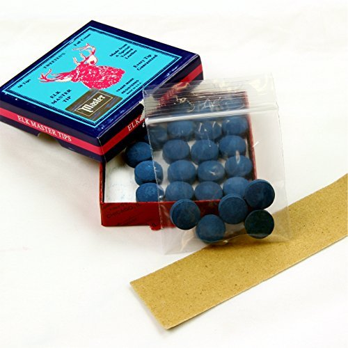5 X 13 mm Leder Tweeten ELKMASTER Pomeranzen für Snooker- und Pool-Queues, aufklebbar, mit Sandpapier