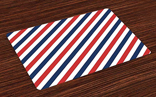 Muccum Harbour Stripe Place Mats Set of 4 Vintage Barber Pole Helix of Colored Stripes Medieval Contrast Design Washable Fabric Placemats for Dining Room Kitchen Table Decor Blue Red White -