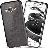 moex Samsung Galaxy J5 (2015) | Hülle Silikon Schwarz Brushed Back-Cover TPU Schutzhülle Ultra-Slim Handyhülle für Samsung Galaxy J5 2015 Case Dünn Silikonhülle Rückseite Tasche
