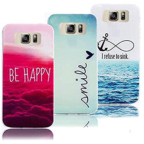 3 X Case pour Galaxy S6 Edge Plus Souple TPU Silicone Etui, Vandot Clouds Colourful Ocean Pattern Cover pour Samsung Galaxy S6 Edge Plus Ultra-mince Thin Slim Housse Coque Anti-choc Anti-scratch Cover Motif Nuages Océan Coquille Prime Accessoires pour Samsung Galaxy S6 Edge Plus (S6 Edge+) - Smile + Be Happy + I Refuse