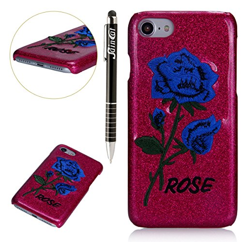 Custodia iPhone 7, iPhone 7 Cover Glitter, SainCat Custodia in PC Protettiva Hard Cover per iPhone 7 4.7, Bling Glitter 3D Design Hard Case Shock-Absorption Ultra Slim Sottile Custodia PC Cover Case A Blue Rose Fondo Rosa