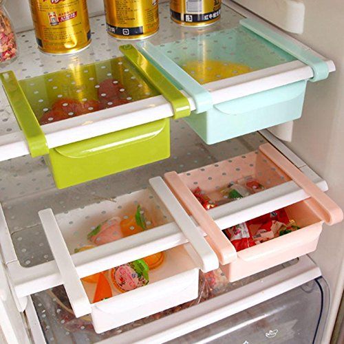 4 Pcs Fridge Space Saver Organiser Slide Storage Rack Shelf Drawer By Inovera