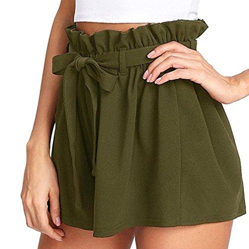 Kurze Hosen Damen Sale Luckycat Shorts Damen Sommer Locker Einfarbige Damen Bügel Shorts Hose Sommerhosen Pants Hosen (Grün, Small)