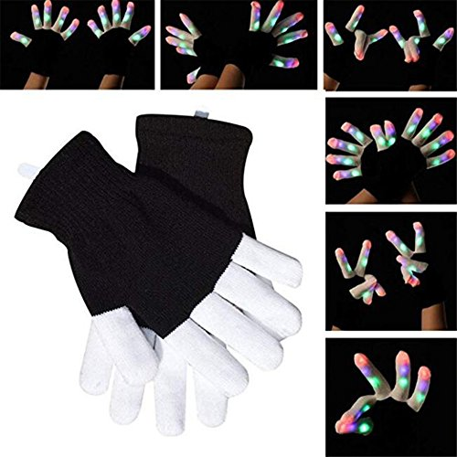Licht Handschuhe Erwachsene Größe Extra Batterien Handschuhe Lichter Weihnachts Geburtstag Light Show Party ()