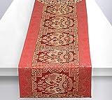Stylo Culture Table Basse Indienne Runner en Or Rouge éléphant & Floral Brocade Jacquard Rectangle Home Decor Ethnique Nappe Extra Longue   60 x 16 Pouces (152 x 40 cm)