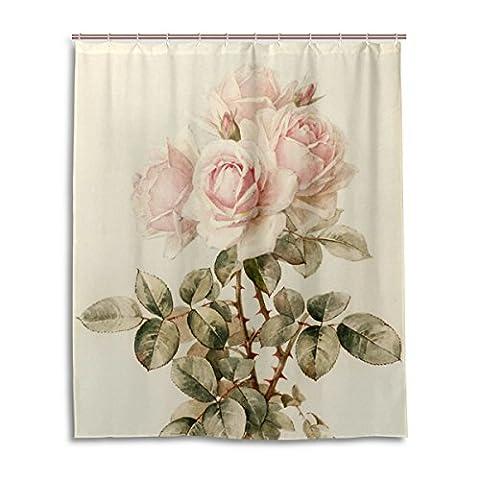 Rideau de douche de bain 152,4x 182,9cm, Vintage Style shabby chic Rose Rose Motif floral, à la moisissure Polyester Rideau de salle de bain en tissu