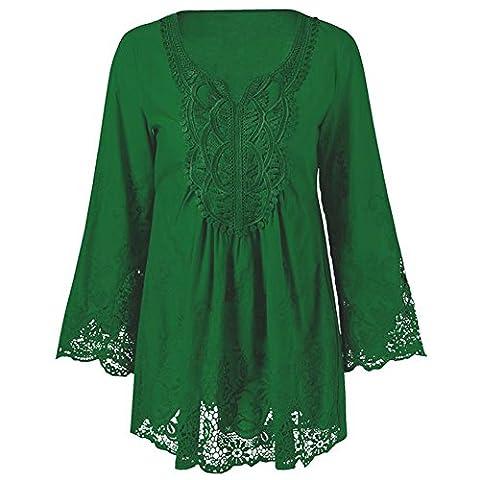 CharMma Women's Plus Size Long Sleeve Lace Patchwork Mexican Peasant Blouse Top (XXXXX-Large,
