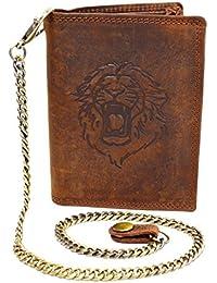 Wild Leder Portemonnaie mit Löwen Druck und Hosenkette