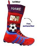 alles-meine.de GmbH 1 Stück _ XL Foto _ Filzstrumpf -  3-D Effekt - Fußballschuhe - ROT / BLAU - mit austauschbaren Foto  - incl. Name - 45 cm - Fotosocke - Deko - Stollenschuh..