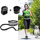 Jogging Leine Elastische Hundeleine Set Mit Reflektierende Bauchgurt Verstellbarer Taillengürtel, Pouch, Flaschenhalter (Hunde Leine, Schwarz A)