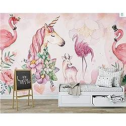 Meaosy Papier Peint Personnalisé Murale Flamant Rose Cerf De Licorne Décoration Chambre Enfant Fond D'Écran Mural Pour Murs 3 D-200X140cm