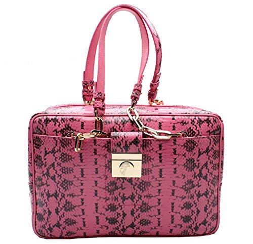Versace-Collection-Reptile-Pattern-Leather-Satchel-Handbag